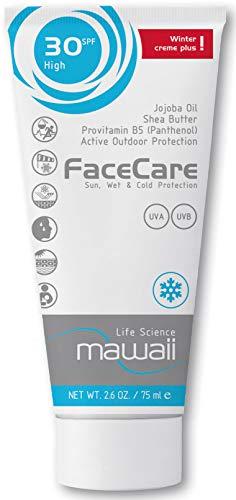 mawaii WinterCare Face SPF 30 - Outdoor-Sport & Winter-Sonnencreme, Anti-Aging Sonnenschutz mit Wind-, Kälte- und Nässeschutz, Sonnenmilch ohne Parabene (1 x 75ml)
