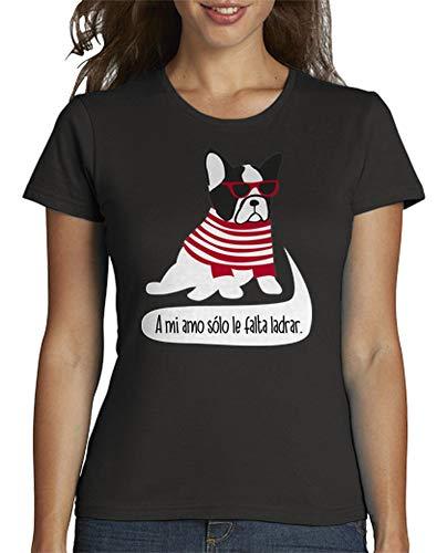 latostadora - Camiseta Bulldog Frances Hipster para Mujer Gris Oscuro S