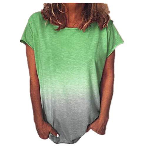 Camiseta Informal De Manga Corta con Cuello Redondo Y Estampado Digital Degradado De Arco Iris para Mujer De Verano