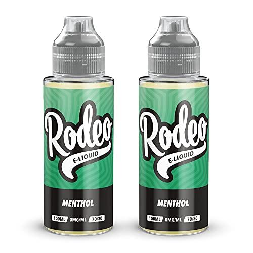 Double Pack - 100ml Menthol E-liquide, 70/30, Vape Juice Liquid eJuice E Cigarette Liquid, Sans Nicotine, 120ml Bouteille (Rodeo E-Liquid)
