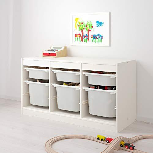 MAC TROFAST - Cómoda de almacenaje para los juguetes de los niños, con cajas de plástico, blanco, 99 x 44 x 56 cm
