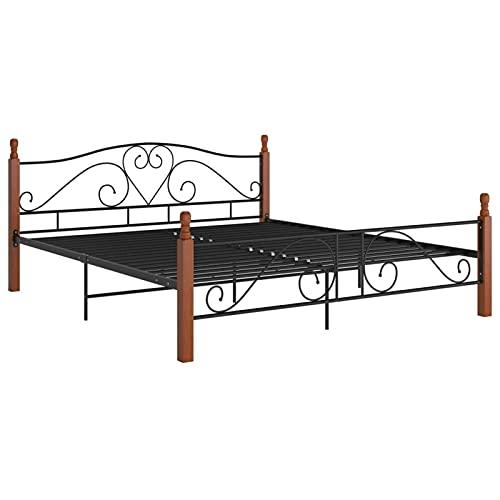 Tidyard Estructura de Cama de Metal Cama de Matrimonio Cama Metálica de Dormitorio Negra 180x200 cm