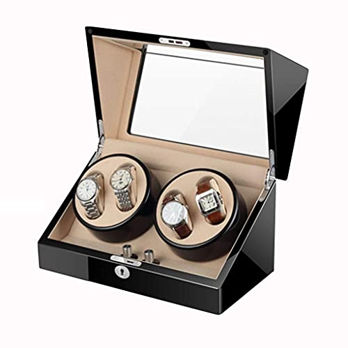SGSG Caja enrolladora de Reloj automática de Lujo 4 + 0 Pintura de Piano de Madera Almohadas de Gamuza Suave Interior con Motor Ultra silencioso Alimentado por batería o Adaptador de CA para homb