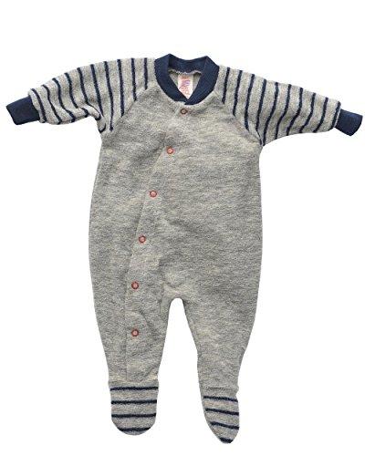 Engel Natur, Frühchen Schlafanzug Frottee, 100% kbT Wolle (44, Hellgrau melange)