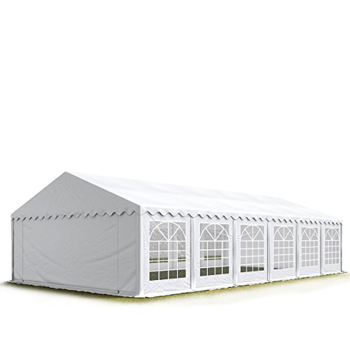 TOOLPORT Party-Zelt Festzelt 6x12 m Garten-Pavillon -Zelt ca. 500g/m² PVC Plane in weiß Wasserdicht