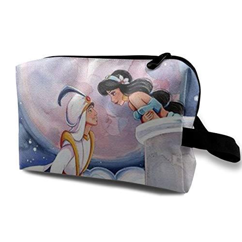 Aladdin Sac de maquillage de voyage avec fermeture éclair pour cosmétiques Sac de toilette pour femme Portable Quotidien Organisateur Mini Sac à cosmétiques