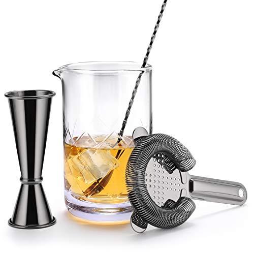 VinoBravo Kristall Mixingglas für Cocktails/Mixing Glass: 550 ml Rührglas mit gewichtetem dickem Boden, 30 cm Rührlöffel, Hawthornesieb und japanischem Jigger