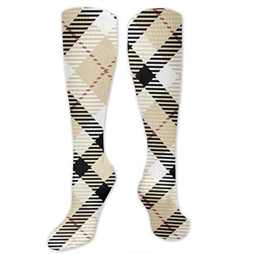 Meiya-Design Alfombra escocesa de tartán de alto rendimiento, color beige, calcetín largo...