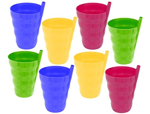10 Oz Plastic Cup with Built in Straw for Kids Assorted Colors (Pack of 8) Sippy Cup