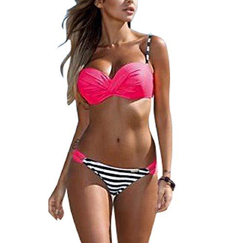 Voqeen Mujer Bikini de Establece Trajes de Baño con Cuello Halter Retro hacia Arriba Dos Piezas Push-Up Acolchadas Rayas Ropa de Playa Traje de baño