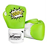 KUYOU Kids Boxing Gloves, Pu Kids Children Cartoon Sparring Boxing Gloves Training Age 5-12 Years (Green)