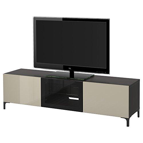 IKEA BESTA - TV-Bank mit Schubladen und Türen Schwarzbraun/selsviken hochglänzend/beige Klarglas