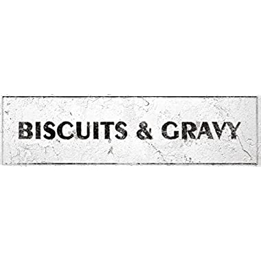 iCandy Combat Biscuits & Gravy Sign Rustic Farmhouse Country Kitchen with Vintage Shabby Chic On 5x18 Plastic
