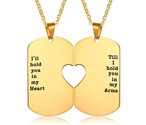 Mealguet Jewelry His and Hers Stainless Steel Matching Heart Dogtag Love Quote Engraved Pendant Necklace, Gay Couples Necklace,Gold Plated