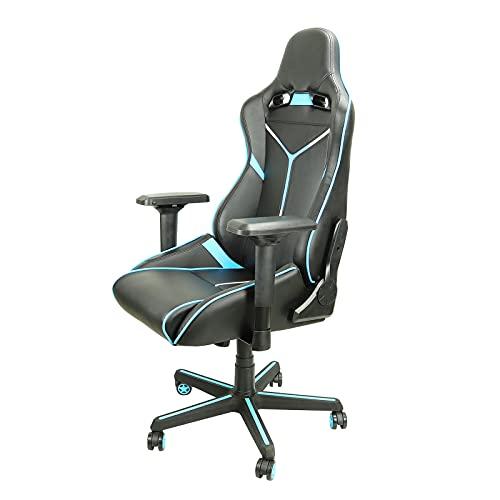 HXJU Silla de juegos, de oficina, de carreras, ergonómica, para videojuegos, silla reclinable de piel sintética, soporte lumbar, silla giratoria con ruedas, color azul