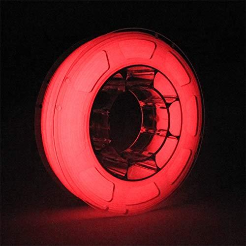TOPZEAL 3D Drucker Filament PLA 1,75mm leuchten in der dunklen Farbserie, Maßgenauigkeit +/- 0,05 mm, 1KG Spule für 3D Drucker und 3D Stift (leuchtend rote)