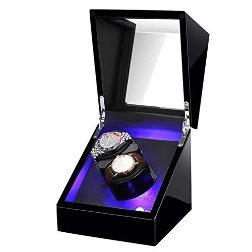 SYWJ Antimagnético Enrollador de Madera para Relojes, con Almohadas Suaves y Flexibles para Relojes, 2 Espacios sinuosos Iluminación LED incorporada Motor silencioso para 2 Relojes