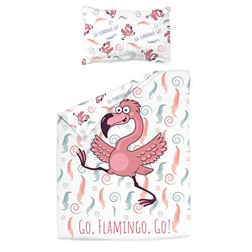 Flamingo – PatiChou 100 % bomullssäng/spjälsäng set (påslakan & örngott) 100 x 140 cm Flerfärgad