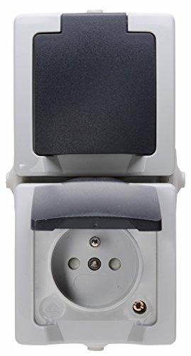 Kopp 138856007 Mitten-Schutzkontakt-Steckdose 2-Fach mit Deckel und erhöhtem Berührungsschutz, AP-FR Nautic grau