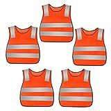 AIEOE 5 Pezzi Gilet di Sicurezza Riflettente Giubbotti Sicurezza Gilet Alta visibilità per Ragazze Ragazzi 2-11 Anni