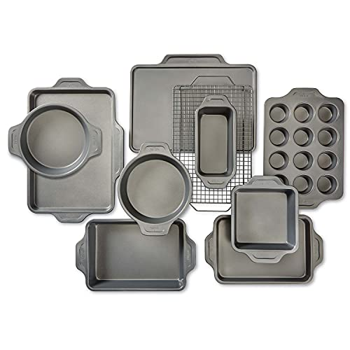 All-Clad Pro-Release Nonstick Bakeware Set Including Half, Cookie Sheet, Muffin, Cooling & Baking Rack, Round Cake, Loaf Pan, 10 piece, Gray