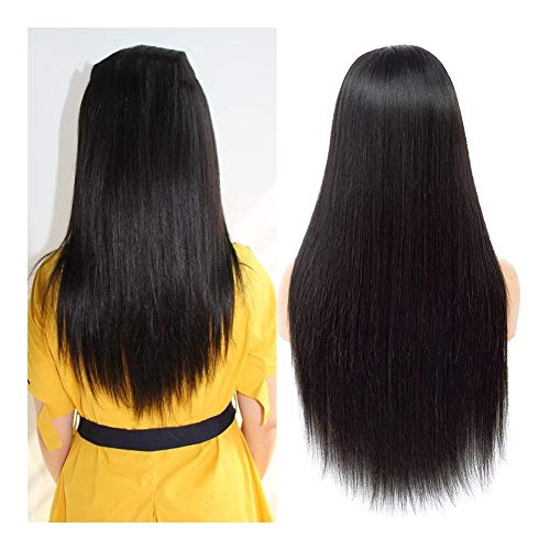 LEZDPP 360 Lace Frontal Human Wig Pre-Collection Hairline 13X4 / 13X6 Brazilian Straight Lace Frontal Wig with Baby Remy Hairpieces (Size : 16 inches)