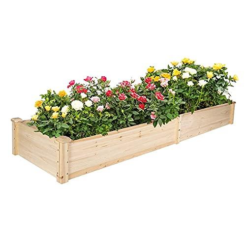 Sac de Plantation Boîtier de jardinière en Bois de 7,5 Pieds surélevé Boîte de jardinière 2 Space de Plantation séparée Sac à Fleurs Sac de Plantation Respirant (Color : Wood)