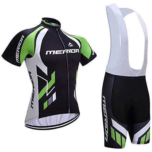 ZHLCYCL Traje Ciclismo Hombre, Maillot Ciclismo y Culotte Ciclismo con 5D Gel Pad para Verano Deportes al Aire Libre Ciclo Bicicleta, MER-Green, M