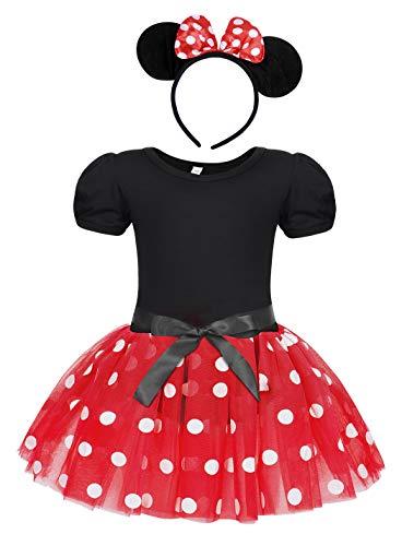 Jurebecia Recién Nacida Tutú Primer Cumpleaños 3 Piezas Trajes Mameluco Falda niñas Vestido de Lunares + Mini Mouse Ears Diadema Rojo
