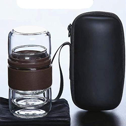 Juego de té de viaje, tetera KungFu con estuche portátil, tazas de té de vidrio con infusor para viajes en casa, contenedor de hojas de té, juego de tazas de té-4