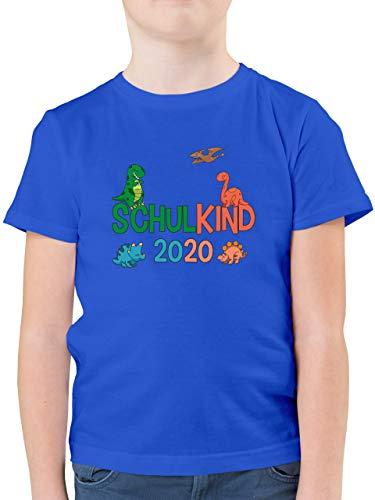 Einschulung und Schulanfang - Schulkind 2020 Dinos - 140 (9/11 Jahre) - Royalblau - Tshirt 116 - F130K - Kinder Tshirts und T-Shirt für Jungen