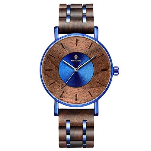 RORIOS Holz Armbanduhren Mode Herren Holzuhr Analog Quarz Uhr Holzuhren Männer Minimalistisches Men Watch