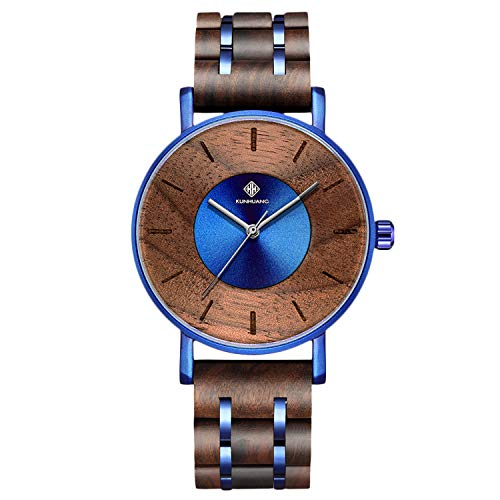 RORIOS Madera del Reloj Moda Reloj Hombre Analógico Cuarzo Relojes Natural Madera Reloj Casual Men Watch