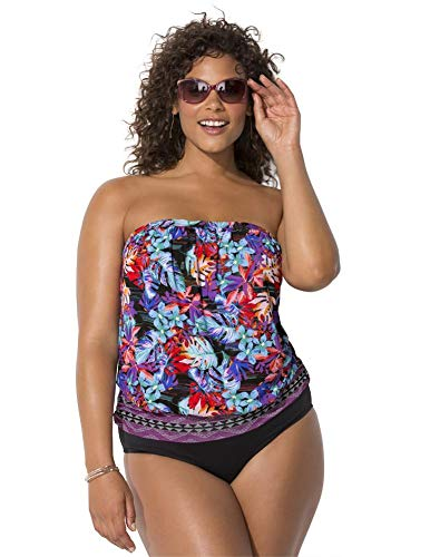 Swimsuits For All Women's Plus Size Bandeau Blouson Tankini Set 24 Wild Multi, Black