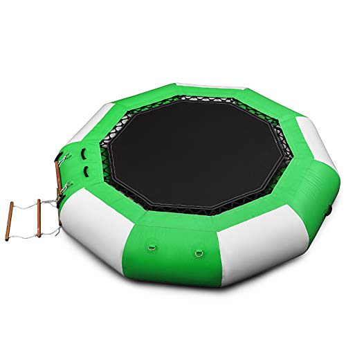 Happybuy 10ft Inflatable Water Bouncer, Green Water Trampoline Splash Padded Inflatable Bouncer...