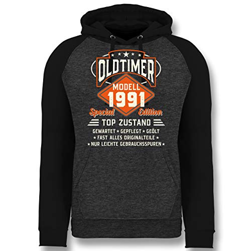 Shirtracer Geburtstag - Oldtimer Modell 1991 - L - Anthrazit meliert/Schwarz - 30. Geburtstag - JH009 - Baseball Hoodie