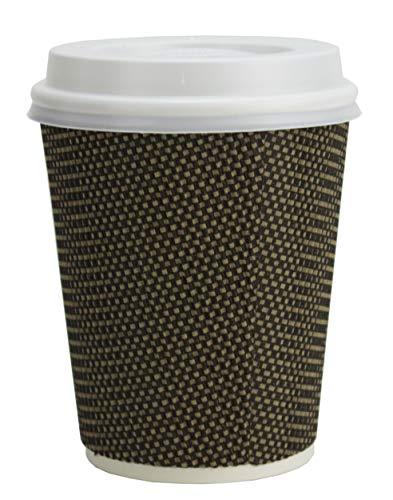 Trinkbecher mit Deckel für Kaffee und Getränke zum Mitnehmen – je 50 Becher und Becherdeckel – Dreifach isolierte Einwegbecher und Weiß Auslaufsichere Deckel – Farbe Braun-Gold (355 ml)