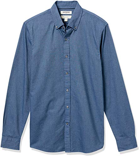 Goodthreads Slim-Fit Long-Sleeve Solid Oxford Shirt Camisa, Azul (Indigo), Large