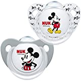 NUK 10175210 Disney Mickey Mouse Trendline - Chupete (silicona, 0-6 meses, sin BPA, 2 unidades), color gris