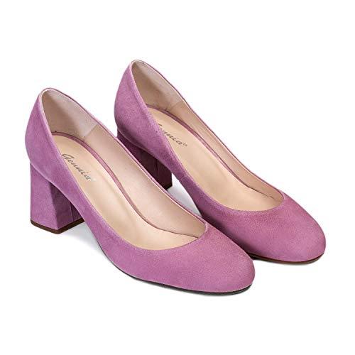 Viva - Salones Zapatos Malva de Vestir para Mujer en Piel con...