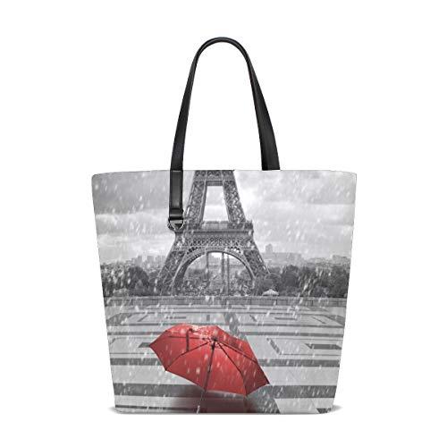NaiiaN Geldbörse Einkaufen Pferd Leichter Riemen Eiffelturm Roter Regenschirm für Frauen Mädchen Damen Student Umhängetaschen Einkaufstasche Handtaschen