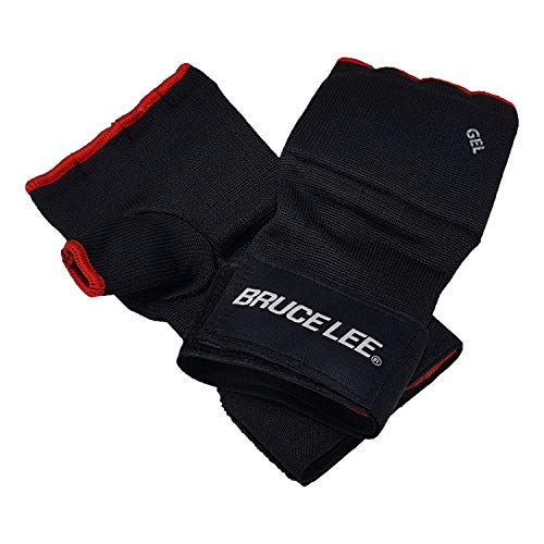 Bruce Lee Boxbandagen Easy Fit Gel gepolstert, rot schwarz, S/M
