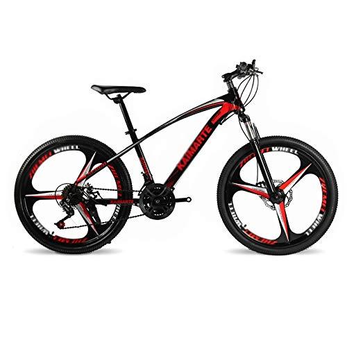 Qinmo Bicicletas 26 Pulgadas de montaña, Bicicleta de montaña de los Hombres de Doble Freno de Disco Rígidas, Bicicleta de Asiento Ajustable, Marco de Acero de Carbono de Alta Velocidad 7-30