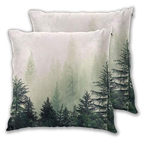 KCOUU Funda de cojín de microfibra suave decorativa con diseño de árboles de pino nebuloso para sofá dormitorio con cremallera invisible 45,7 x 45,7 cm, juego de 2