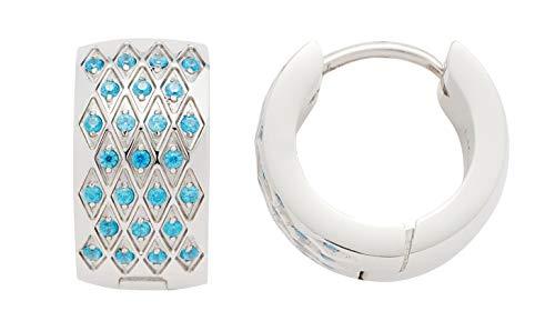 JEWELS BY LEONARDO Damen-Kreolen Rombo, Edelstahl mit türkisblauen Kristallsteinen, Größe (B/H/T): 7/13/12 mm, 016803