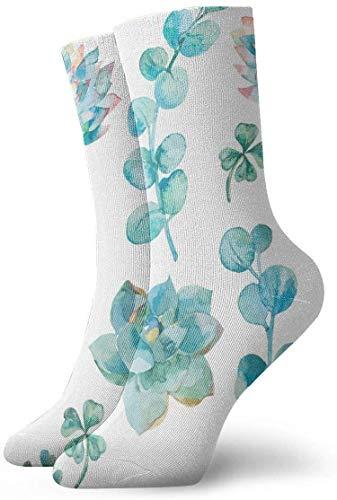 Calcetines divertidos con diseño de flores y hojas tropicales verdes, 30 cm
