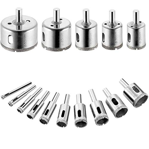WIFUN 15 Pieces Diamond Drill Bits Hole Saws, Hollow Core Drill Bit Set for Glass Ceramic Porcelain, Tile, Marble (6/8/10/12/14/16/18/20/22/25/28/30/35/40/50 mm)