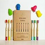 Pero On Life – Pack de 6 cepillos de dientes de bambú para niños + 4 fundas divertidas protectoras siliconadas | cerdas suaves naturales sin BPA | Ecológico biodegradable y reutilizable