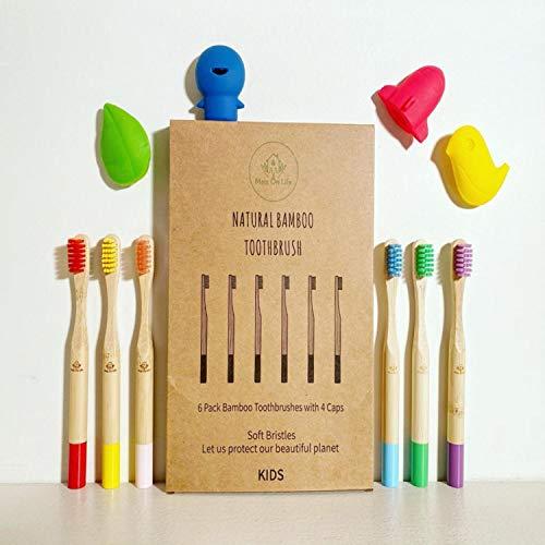Pero On Life – Pack de 6 cepillos de dientes de bambú para niños + 4 fundas divertidas protectoras siliconadas   cerdas suaves naturales sin BPA   Ecológico biodegradable y reutilizable