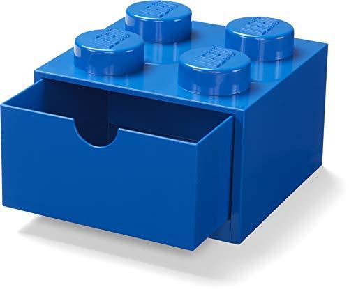 LEGO Scrivania Cassetto 4 Manopole Impilabile Scatola Portaoggetti, Blu, One Size